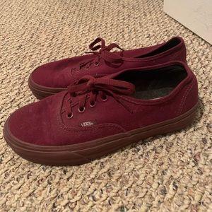 Vans Maroon Sneakers Unisex Nwot